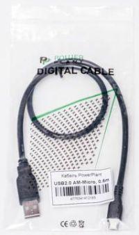 usb кабель powerplant - microusb black 0.5 м  - купить  кабели usb, lightning, type-c  - mobenergy